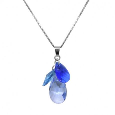 Collier Femme Indicolite Fleur Bleue