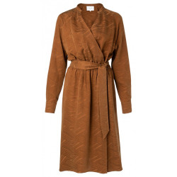 Robe ceinturée marron