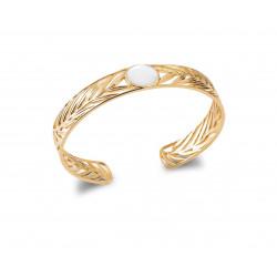 Bracelet Plaqué Or et Nacre Rigide