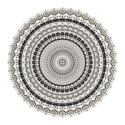 SET DE TABLE de la marque PÔDEVACHE motif mandala gris & noir