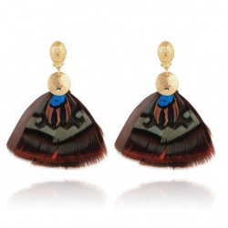 Boucles d'oreilles GAS Bijoux à plumes modèle SAO pièce unique