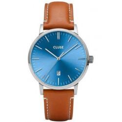 Montre Aravis Leather - Silver Blue/Light Brown