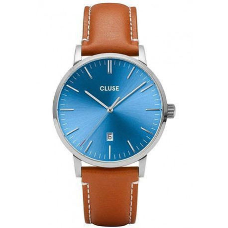 Montre Aravis Leather - Silver Blue/Light Brown