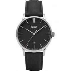 Montre Aravis Leather - Silver Black/Black