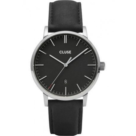 Montre Aravis Leather - Silver Black/Black