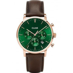 Montre Aravis Chrono Leather - Rose Gold/Green/Dark Brown