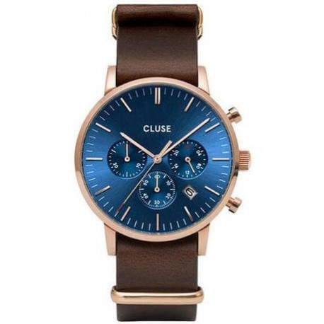 Montre Aravis Chrono Nato Leather - Rose Gold Dark Blue/Dark Brown