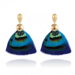 Boucles d'oreilles GAS Bijoux à plumes modèle BERMUDES pièce unique