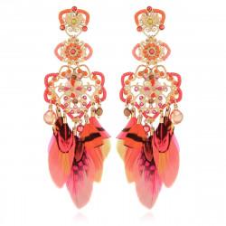 Boucles d'oreilles GAS Bijoux à plumes modèle TAPACHULA pièce unique