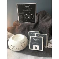 Brûle-parfum électrique et recharges de 4 décors fondants en cire parfumée Mathilde.M